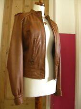 Ladies AUTOGRAPH M&S brown tan real leather JACKET medium UK 10 12 biker cropped