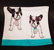 SERENDIPITY PLUSH ABSORBENT AQUA BLUE,WHITE BOSTON TERRIER DOG COTTON HAND TOWEL