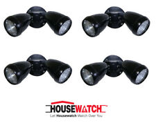 4 x Double Security Floodlight Sets 2 x 40W G9 240V Wall or Ceiling Mount -BLACK