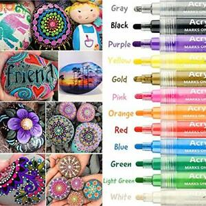 Acrylic Paint Pens,YITHINC 12 Colors Acrylic Painter for Stone Paper Glass