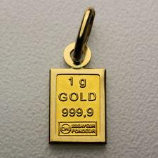 1 Grammo 999 Barretta d'Oro Ciondolo con 750 lui oro Versione (senza Catenella)