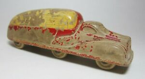 """Vintage Sun Rubber Co Toy Truck - Yellow & Red 4"""" - Rolls Fine - SEE ALL PHOTOS"""