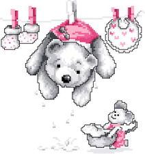 Free S&H 14 counted teddy bears aida Cross stitch kit 96 x 102 stitches KA014