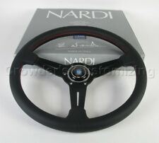 Nardi Classic Steering Wheel 360 mm Black Perf. Leather Red Stitch Classic Horn