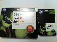 4PK New GenuineHP 564XL Black & 564 Color Combo Pack Ink Cartridges