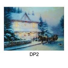 Christmas 40cm x 30cm LED Light up Canvas Picture - Houses DP2