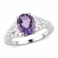 925 Sterling Silver Oval Amethyst Fashion Statement Cocktail Ring Jewelry Gift