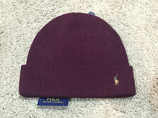 NEW Polo Ralph Lauren AGED WINE signature cuffed merino wool hat beanie BURGUNDY