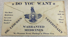 Dr. Lesure's Veterinary Warranted Medicines. Antique Advertising Envelope