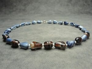 Vintage Bohmian Grey & Brown Striped Glass Bead Necklace