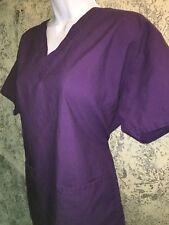 MEDLINE Comfort Ease scrubs top dental medical vet v-neck 2 pockets purple M