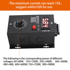 Universal 6-90V 12V PWM DC Motor Speed Control PLC 15A Governor Volt Display Hot
