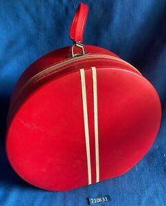 Vintage Red Dandy Round Suitcase Hat Box Wig Case Luggage Zipper Carrier Retro