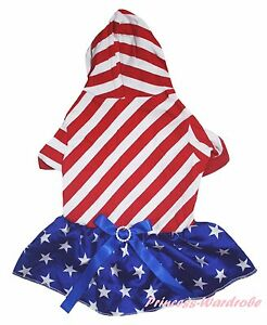 4th July Red White Slope Stripes S/S Top Blue Star Skirt Cat Pet Dog Puppy Dress