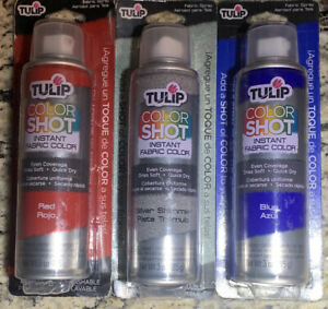 New Tulip ColorShot Instant Fabric Color 3oz. Lot Of 3 Red,Blue,Silver Shimmer