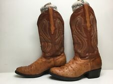 Vtg Mens Rodeo Cowboy Ostrich Skin Brown Boots Size 6
