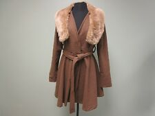 YA LOS ANGELES COAT REMOVABE FUR COLLAR LINED BELTED BROWN WOMEN'S SIZE L