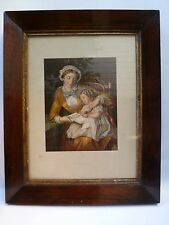 "1855 George Baxter Color Chromolithographic Print "" First Lesson"""