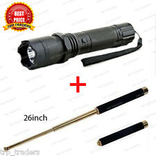 Combo Self Defense Stun Torch with Flashlight Torch & Folding Stick 26 inch