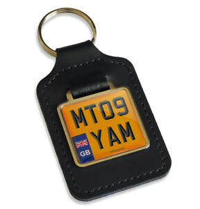 MT09 YAM Reg GB Number Plate Leather Keyring for Yamaha MT-09 Keys