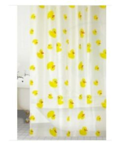 Blue Canyon Peva Rail Ring Shower Curtain 180cm x 180cm Washable - Yellow Duck