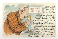 Weird Illustration Man Yelling Gawking At Chick Postcard 1906 Date Stamp N065