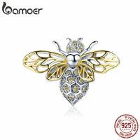 BAMOER Women S925 Sterling silver Charms Bee & AAA CZ Fit Women Bracelet Jewelry