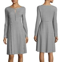 $525 Max Mara Weekend Women's XL Gingham Check Plaid Keyhole Urbana Flare Dress