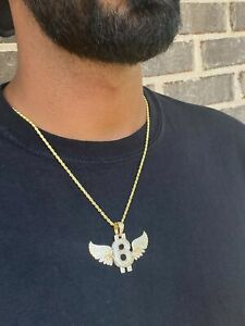 14K Gold Plated Silver 925 Rapper Large B-Wing Charm Iced Flashy w/ Rope Chain