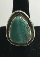 Native American Sterling Silver Turquoise Ring Size 9