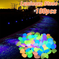 100X Mixed Glow For Walkways Garden Aquarium in the Dark Pebbles Luminous Stones