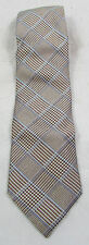 Nautica 100% Silk Necktie Brown Blue Houndstooth Plaid