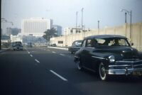 Kodak Slide 1950s Red Border Kodachrome Civic Center Freeway LA Los Angeles Car