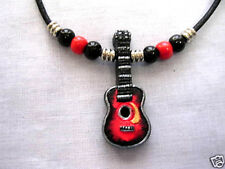 HAND PAINTED ACOUSTIC SPANISH CLASSICAL GUITAR CERAMIC PENDANT BEADED NECKLACE