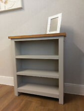 Dorset Grey Painted Low Wide Bookcase / Small Shelving Unit / Storage