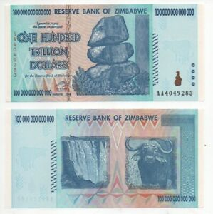 Zimbabwe 100 TRILLION DOLLARS banknote 2008 P-91 - UNC Condition, AA Serial