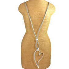 Heart silver plated leather costume necklaces pendants ebay lagenlook matte silver colour large heart pendant grey leather long necklace mozeypictures Choice Image