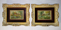 Gold Gesso Wood Frame Antique LaVera Ann Pohl Countryside Cottage Oil Paintings