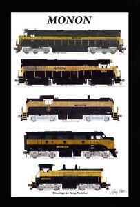 "Monon Black & Gold Locomotives 11""x17"" Poster 12"" x 18"" mat Andy Fletcher signed"