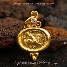Pink Topaz Coin Pendant By Omer Handmade  925k Sterling Silver  24k Gold Vermeil