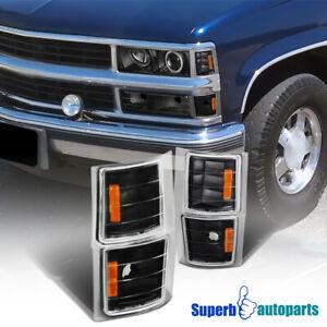 For 1994-1998 Chevy C10 Pickup Truck Corner Lights Black Tahoe Suburban