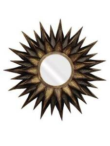 Metal Hammered Big Copper Gold Sun Flower Burst Brown Wall Decor Craft Mirror