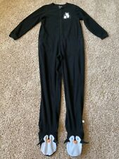 Nick & Nora Sleepwear Penguins Black One-Piece Foot Pajamas Size M