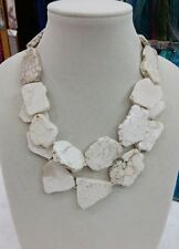 Charm Chunky White Turquoise Slice Handmade BIb Necklace Woman Gift Habdmade