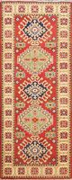Vegetable Dye Super Kazak Oriental Geometric RED Runner Rug Hand-knotted 2'x6'