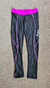 "Black Purple Spandex Lycra Shiny Leggings Running Yoga Small UK 8-10 32-34"""