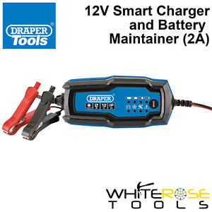Draper 12V Smart Charger Battery Maintainer 2A Trickle Charge Booster Portable