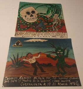 Original Retablo Ex Voto Painting SIGNED Listed Mexican Artist Outsider Folk Art