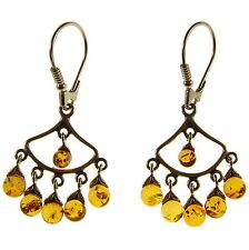 BALTIC AMBER STERLING SILVER 925 DROP DANGLING HOOPS DESIGNER EARRINGS JEWELLERY