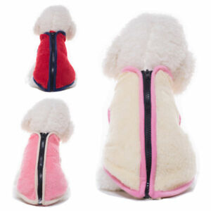Winter Warm Fleece Small Pet Dog Jacket Vest Clothes Zip Puppy Cat Coat Costumes